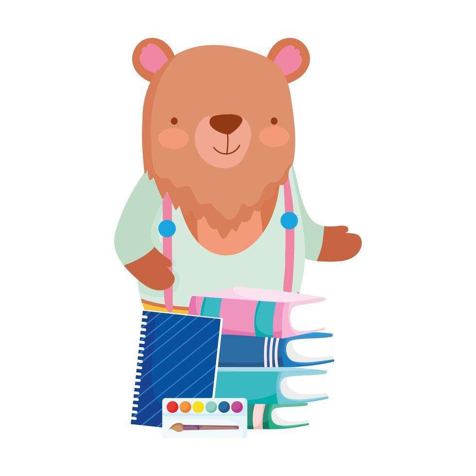 terug naar school, beer schoolbordboeken blocnote paletkleur vector
