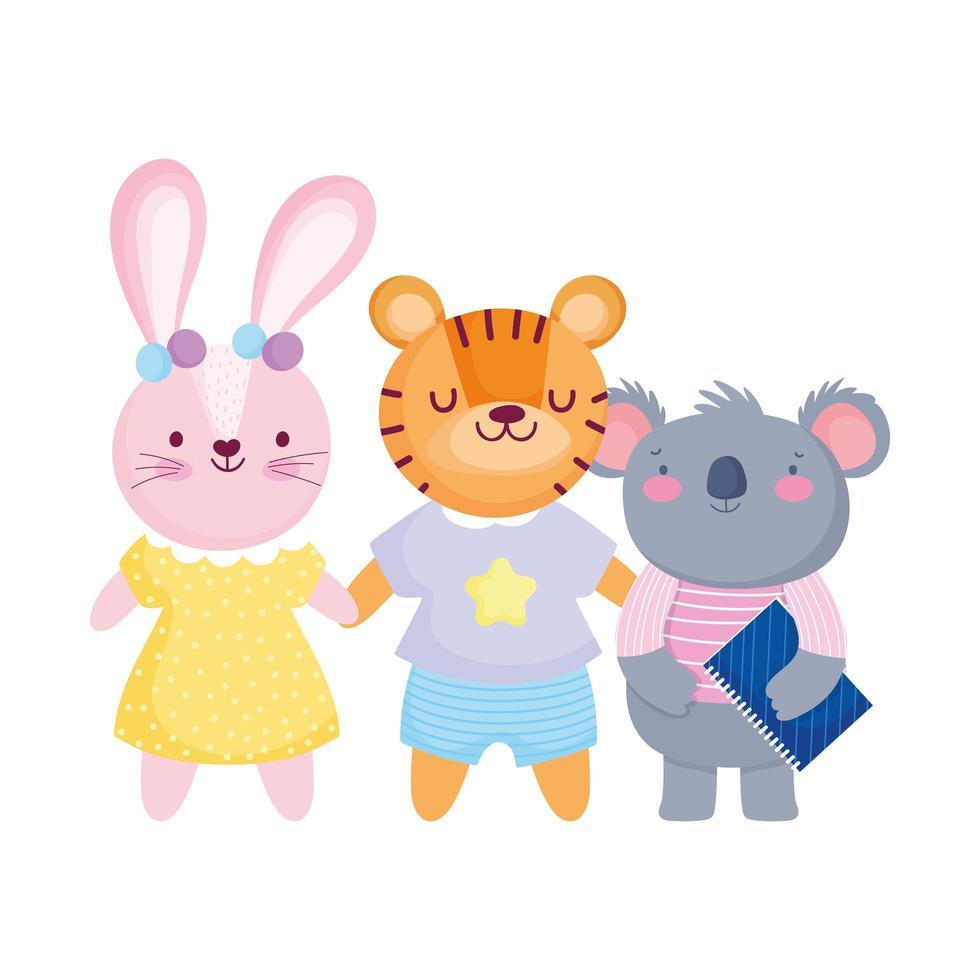 terug naar school, koala met boek en tijger konijn cartoon vector