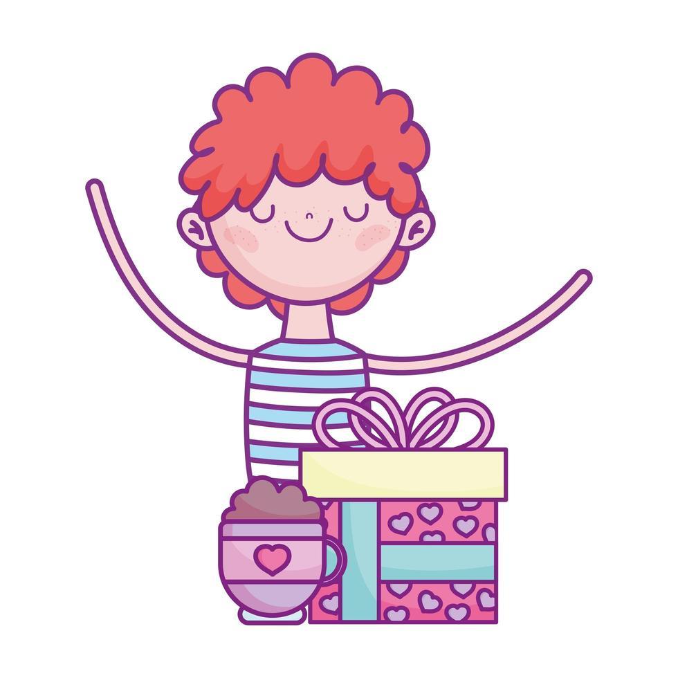 gelukkige Valentijnsdag, jonge man met cadeau en koffiekopje vector
