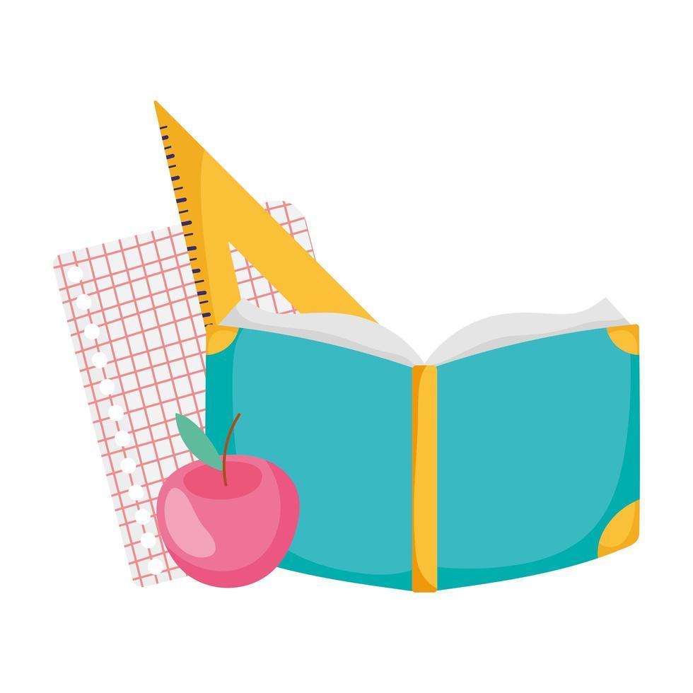 terug naar schoolboek appel papier driehoek liniaal cartoon vector