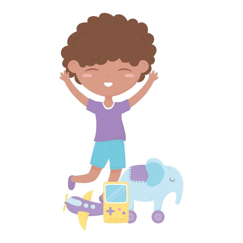 kids zone, schattige kleine jongen speelgoed olifant videogame en vliegtuig vector