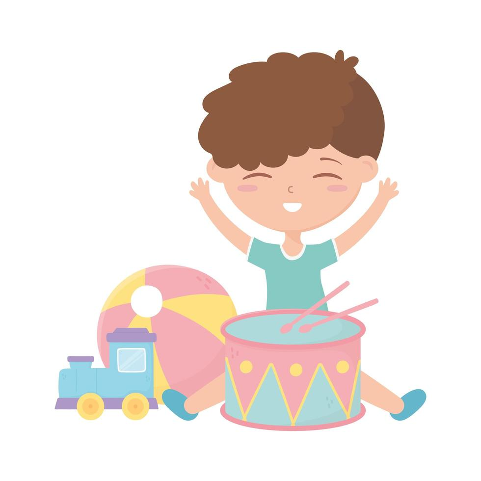 kinderzone, schattige kleine jongen drumbal en trein speelgoed vector