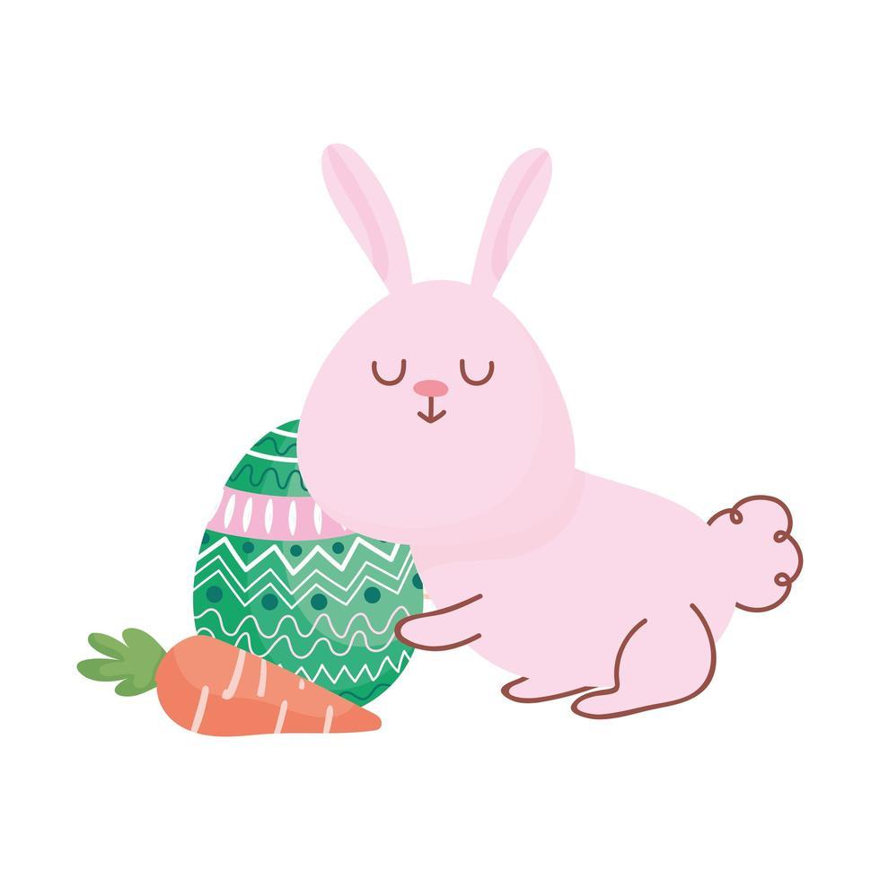 gelukkig Pasen schattig konijn met wortel en eierdecoratie vector