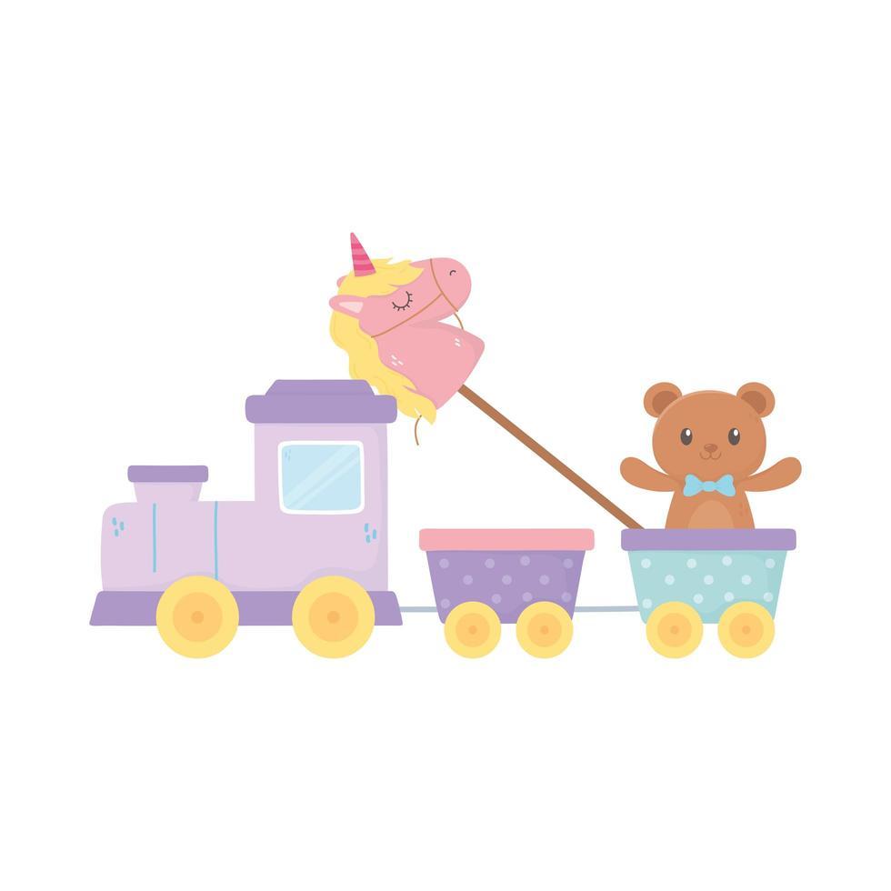 kinderzone, train teddybeer en eenhoorn in stokspeelgoed vector