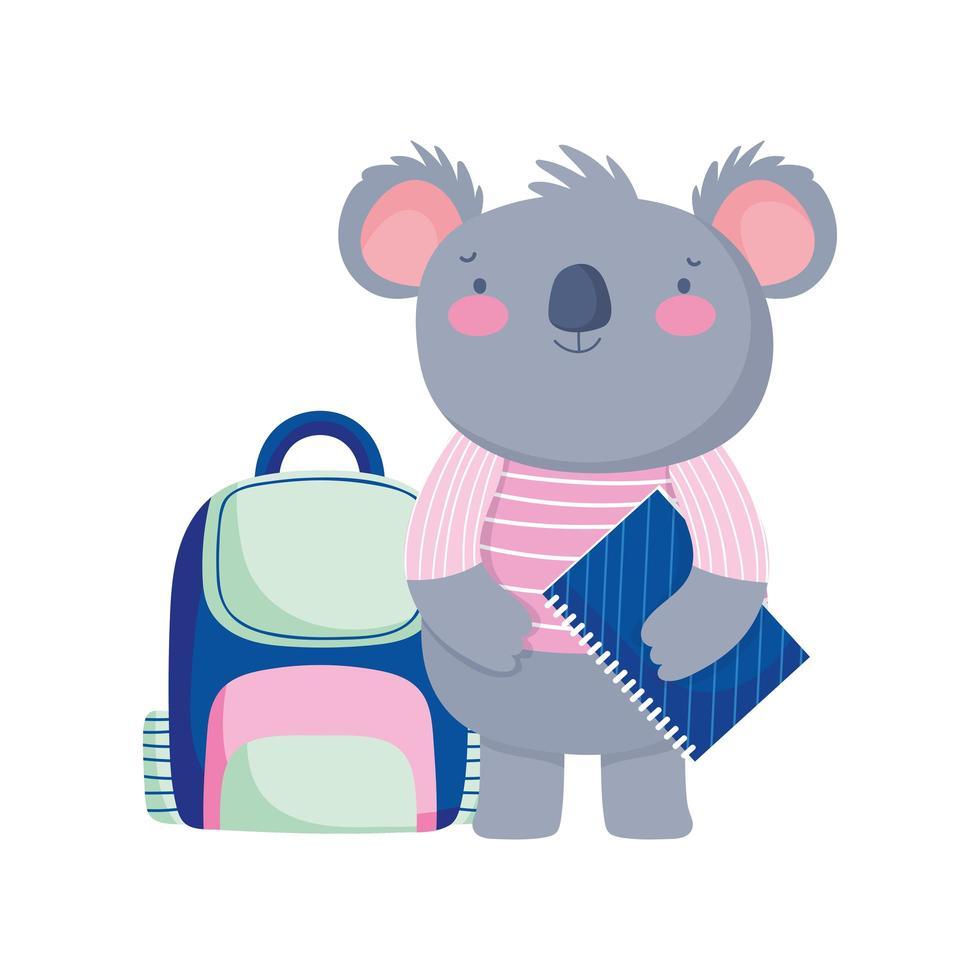 terug naar school, koala rugzak en boekstudie cartoon vector