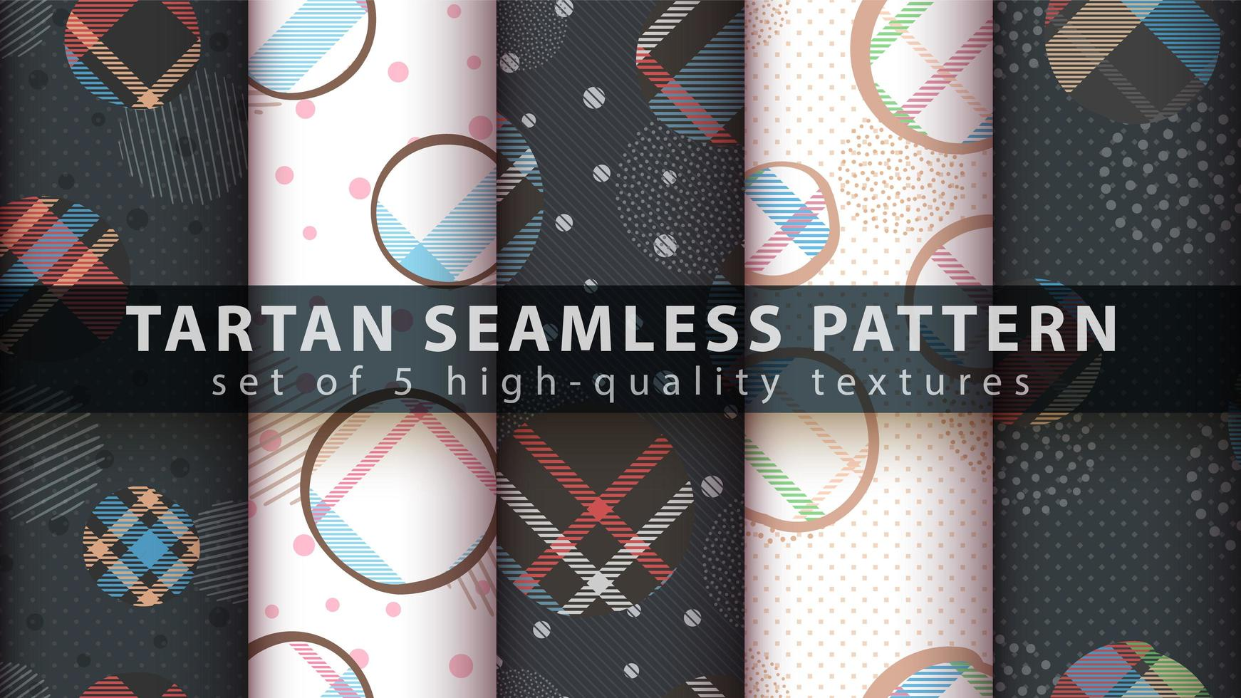 set geometrische vormen met tartan naadloze patroon achtergrond vector