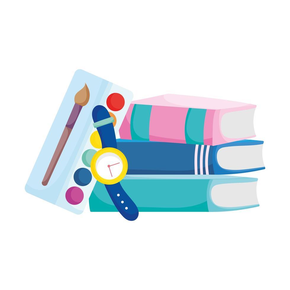 terug naar schoolboeken palet kleur en horloge benodigdheden vector