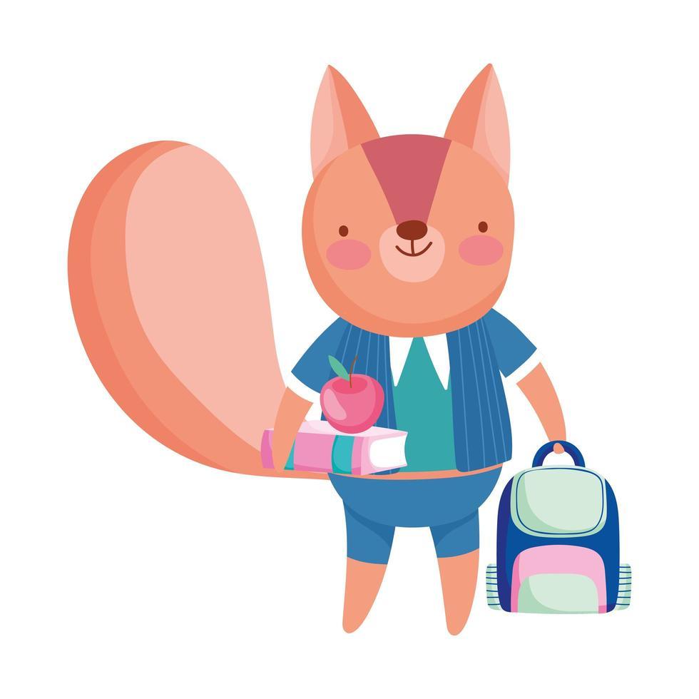 terug naar school, eekhoorn met boek Apple rugzak cartoon vector