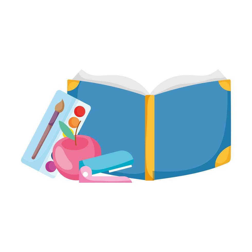 terug naar schoolboek nietmachine palet kleur en appel cartoon vector