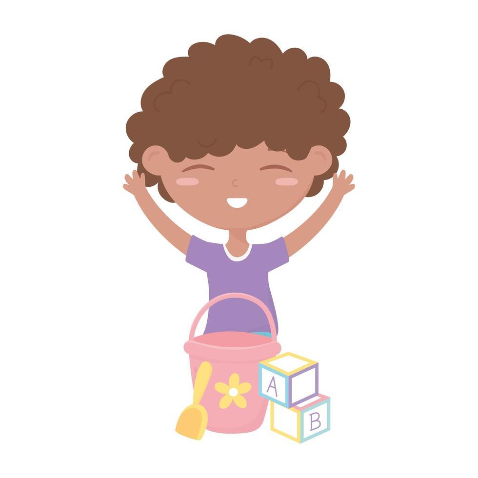 kids zone, schattige kleine jongen met emmer schop en blokken speelgoed vector