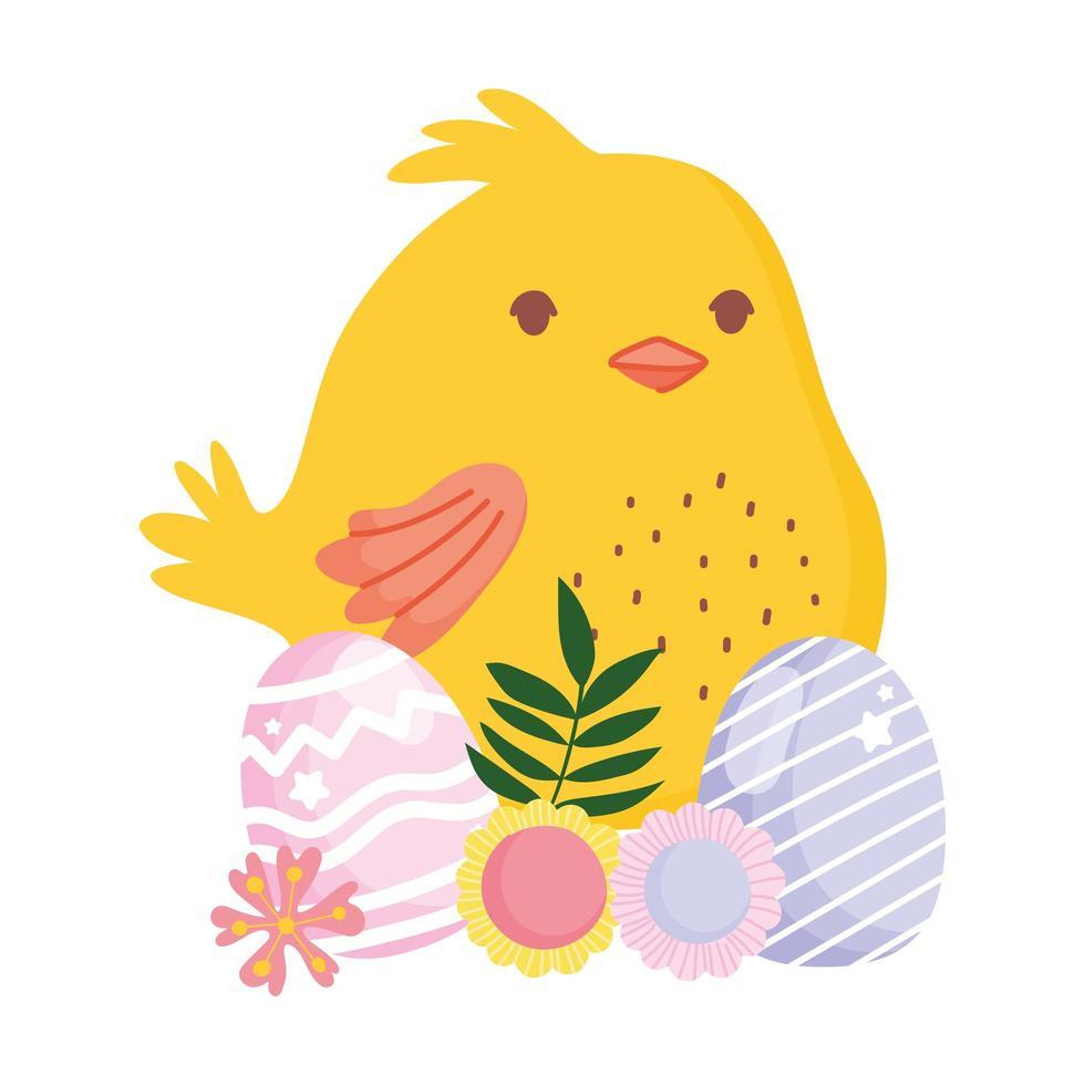 happy easter kleine kippeneieren en bloemendecoratie regenboog vector