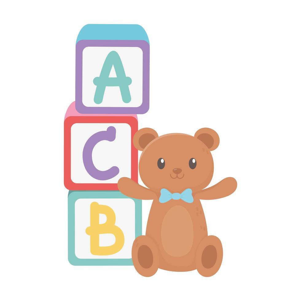 kinderzone, alfabetblokken teddybeer en cartoonspeelgoed vector