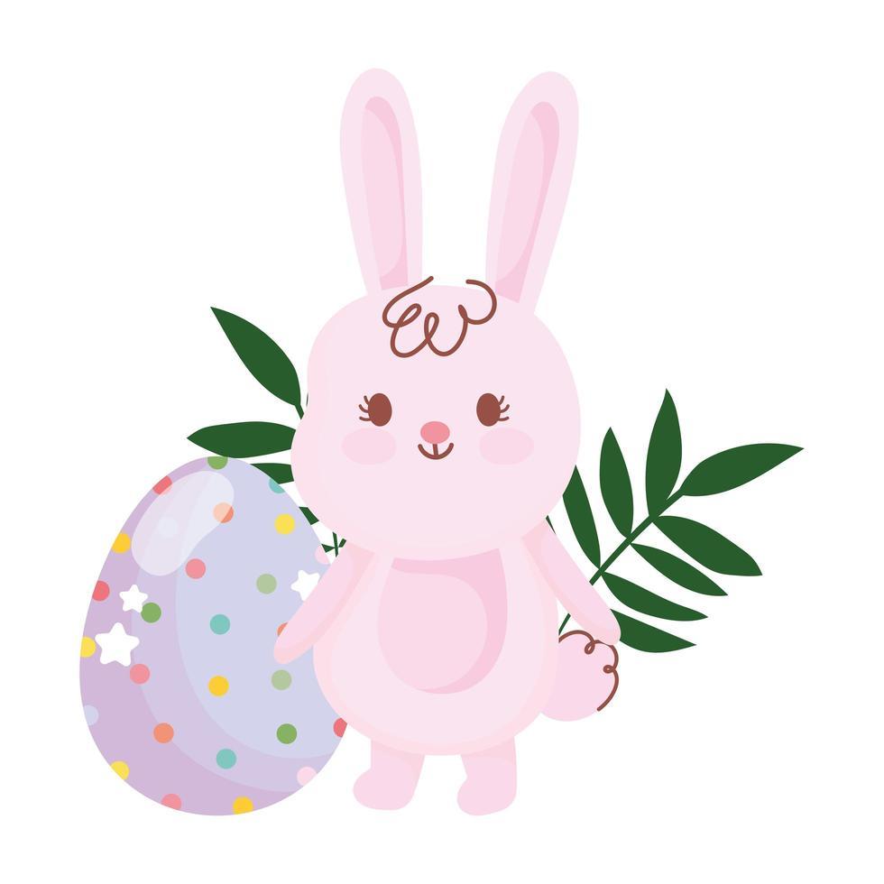 gelukkig Pasen schattig konijn en ei stippen en sterren decoratie vector