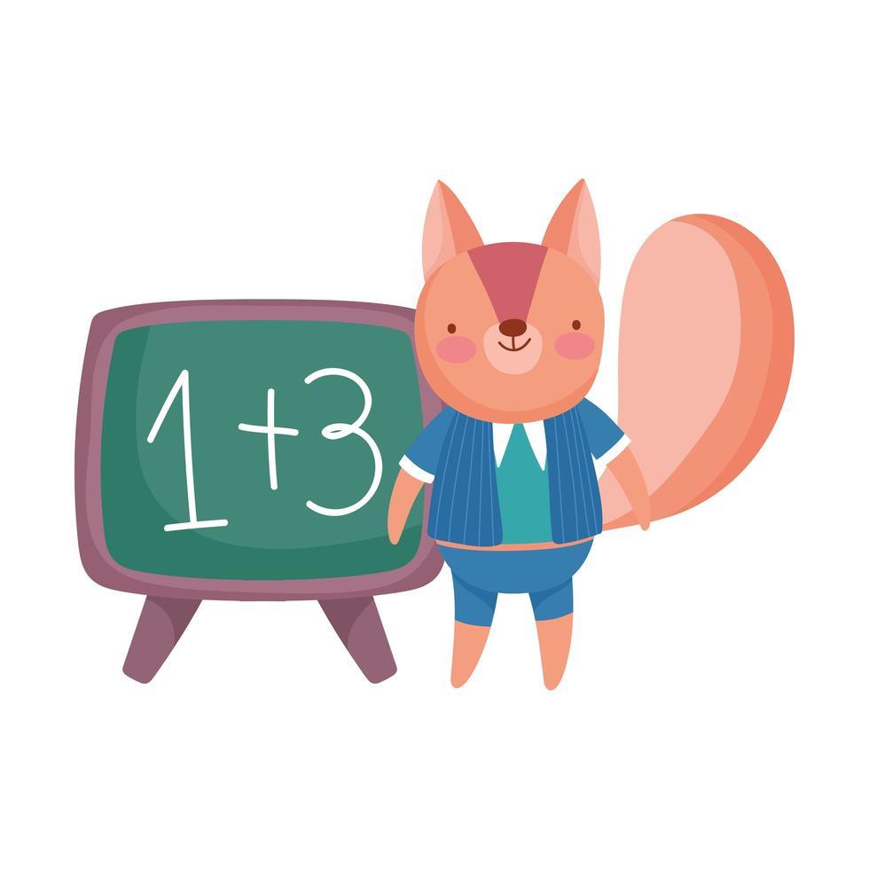 terug naar school, eekhoorn met kleren schoolbord cartoon vector