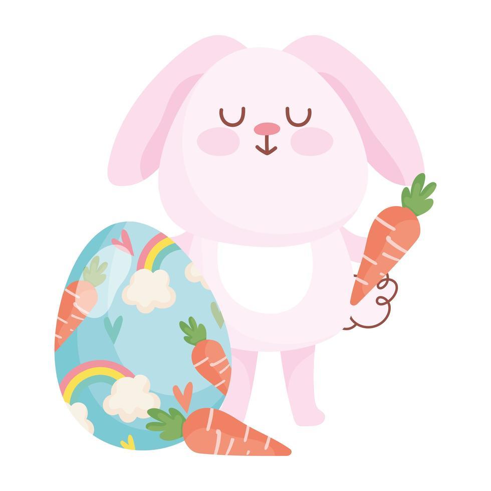 gelukkig Pasen roze konijn met wortelen en de beschilderde decoratie van de eieregenboog vector