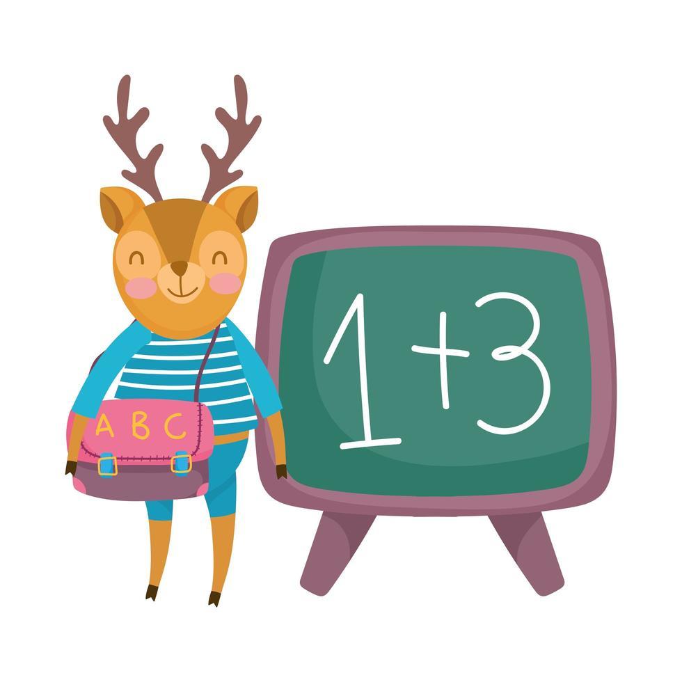 terug naar school, herten met kleren rugzak schoolbord cartoon vector