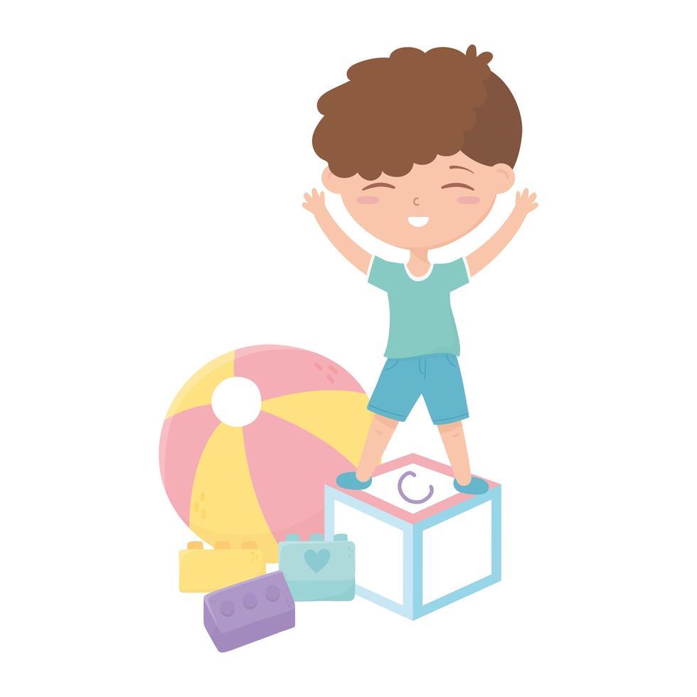 kids zone, schattige kleine jongen alfabet blok bal bakstenen speelgoed vector