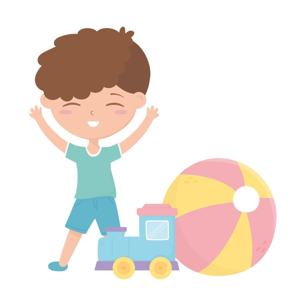 kids zone, schattige kleine jongen trein bal cartoon speelgoed vector