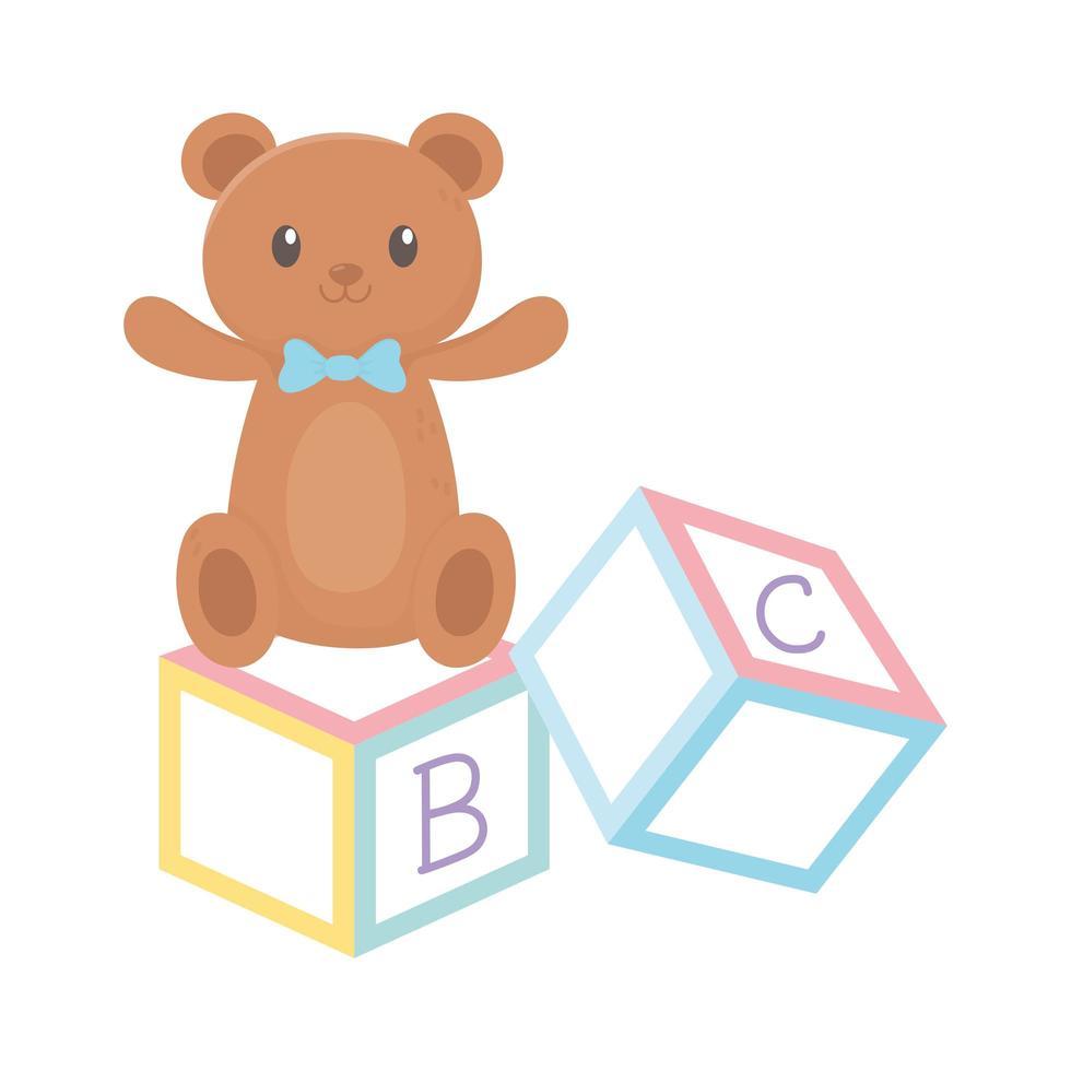 kids zone, alfabet blokken teddybeer speelgoed cartoon vector