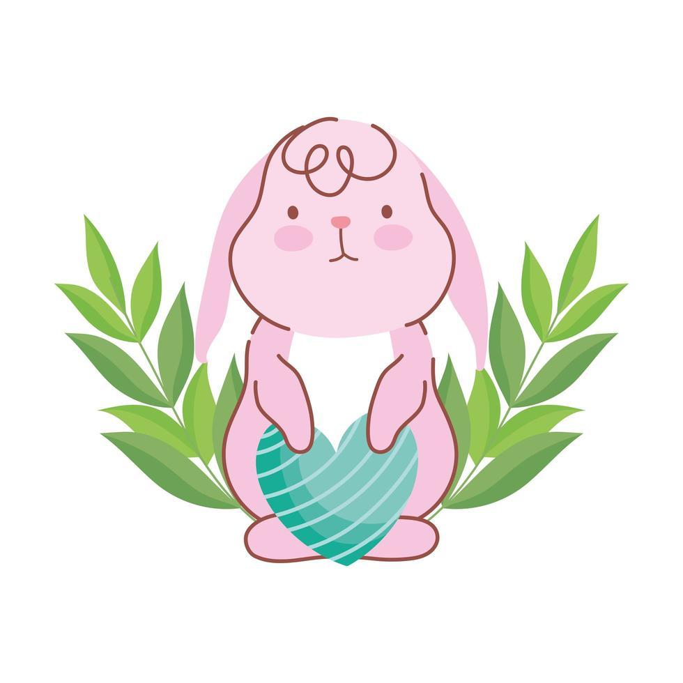 gelukkig Pasen schattig konijn met gestreepte hart liefde decoratie vector