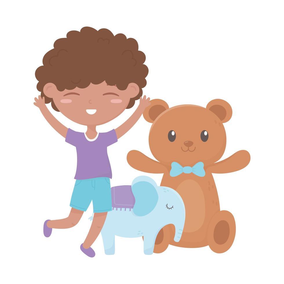 kinderzone, vrolijke kleine jongen teddybeer en olifantenspeelgoed vector