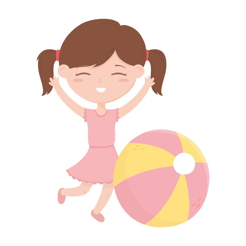 kids zone, schattig klein meisje met strandbal speelgoed vector