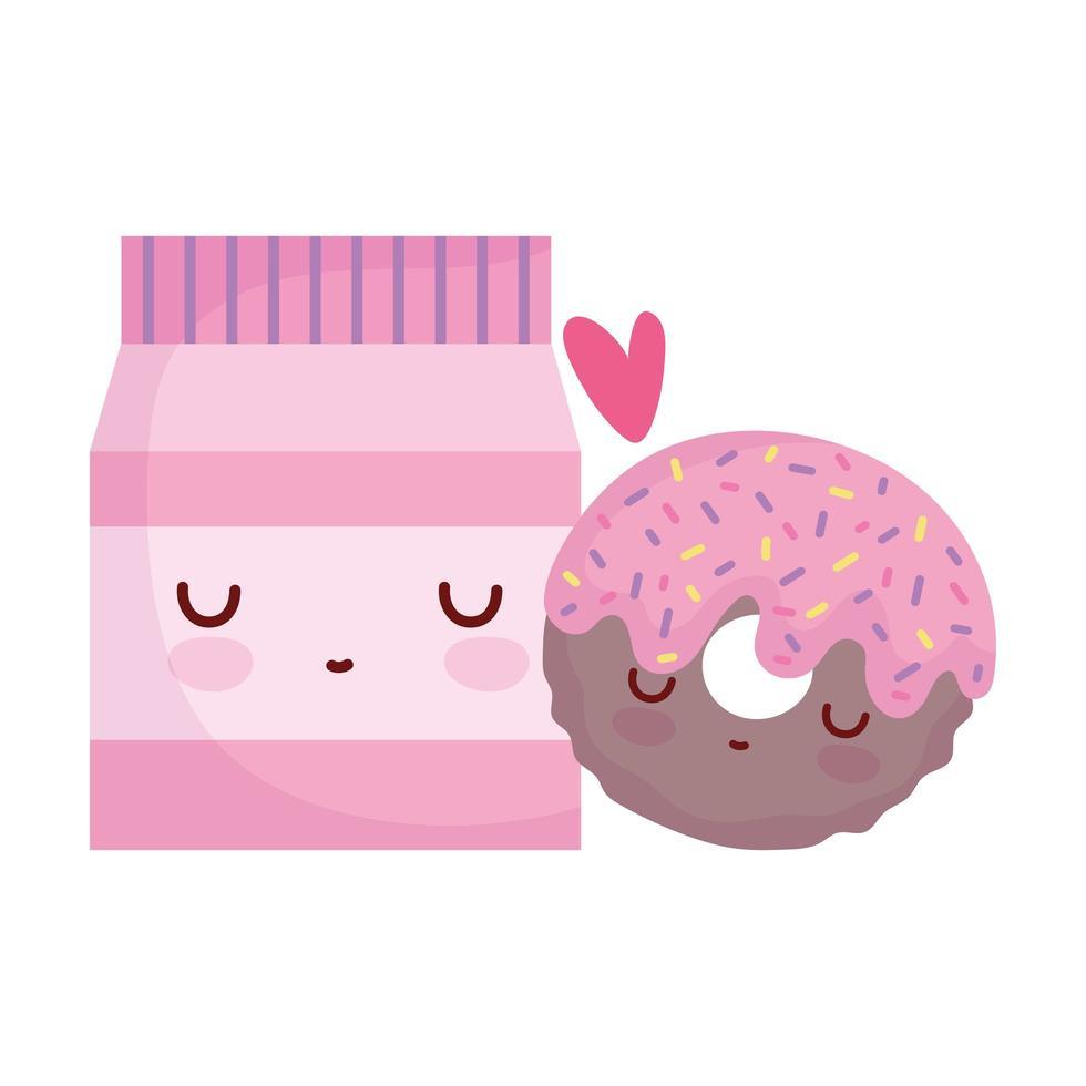 pakket donut liefdesmenu karakter cartoon eten schattig vector
