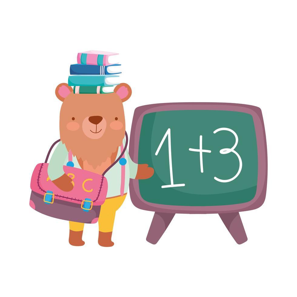 terug naar school, beer met boeken op hoofd schoolbord rugzak cartoon vector