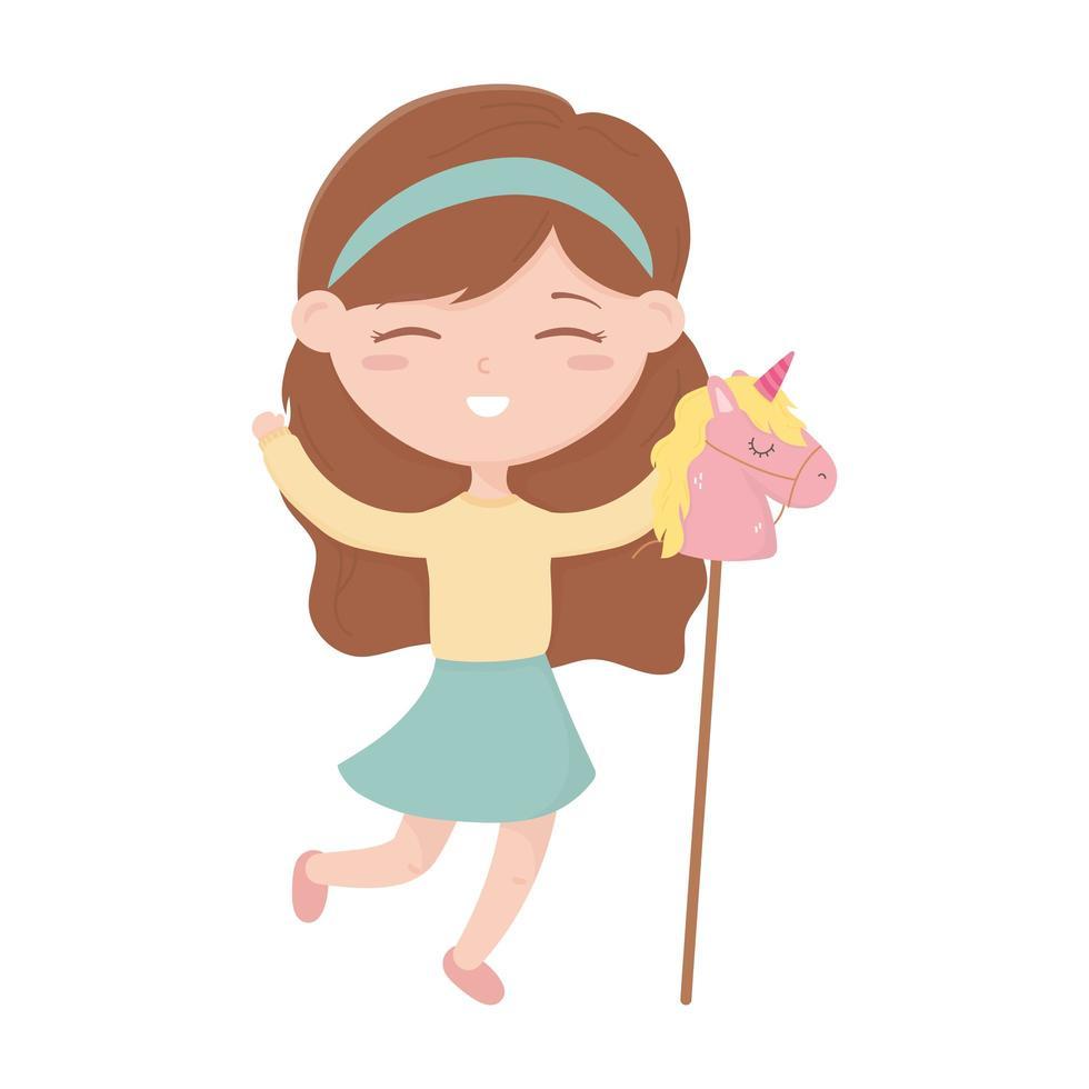 kids zone, schattig klein meisje met paard in het speelgoed van de stokcartoon vector