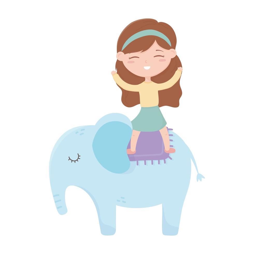kids zone, schattig klein meisje op olifant cartoon speelgoed vector