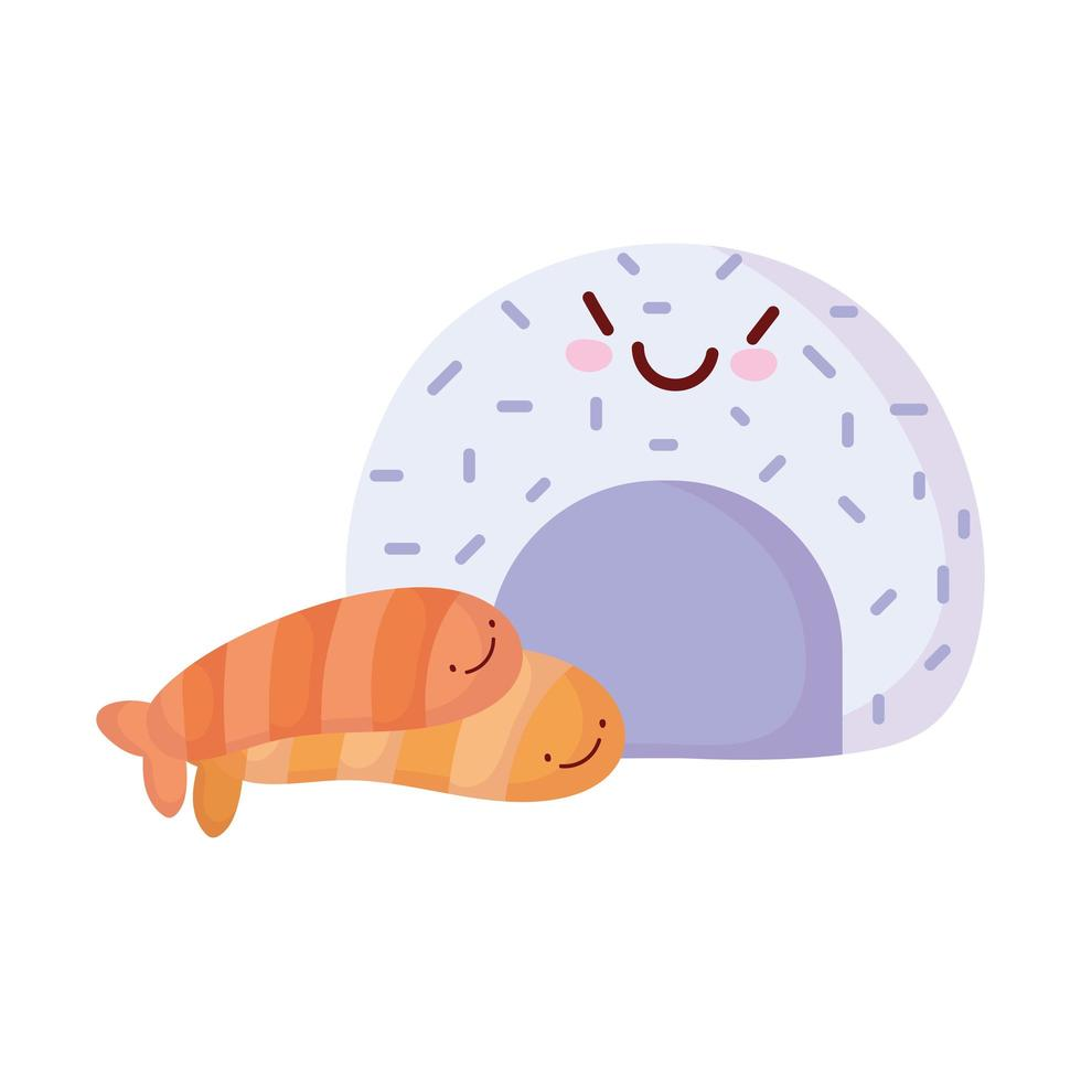 rijst roll en zalm vissen menu karakter cartoon eten schattig vector
