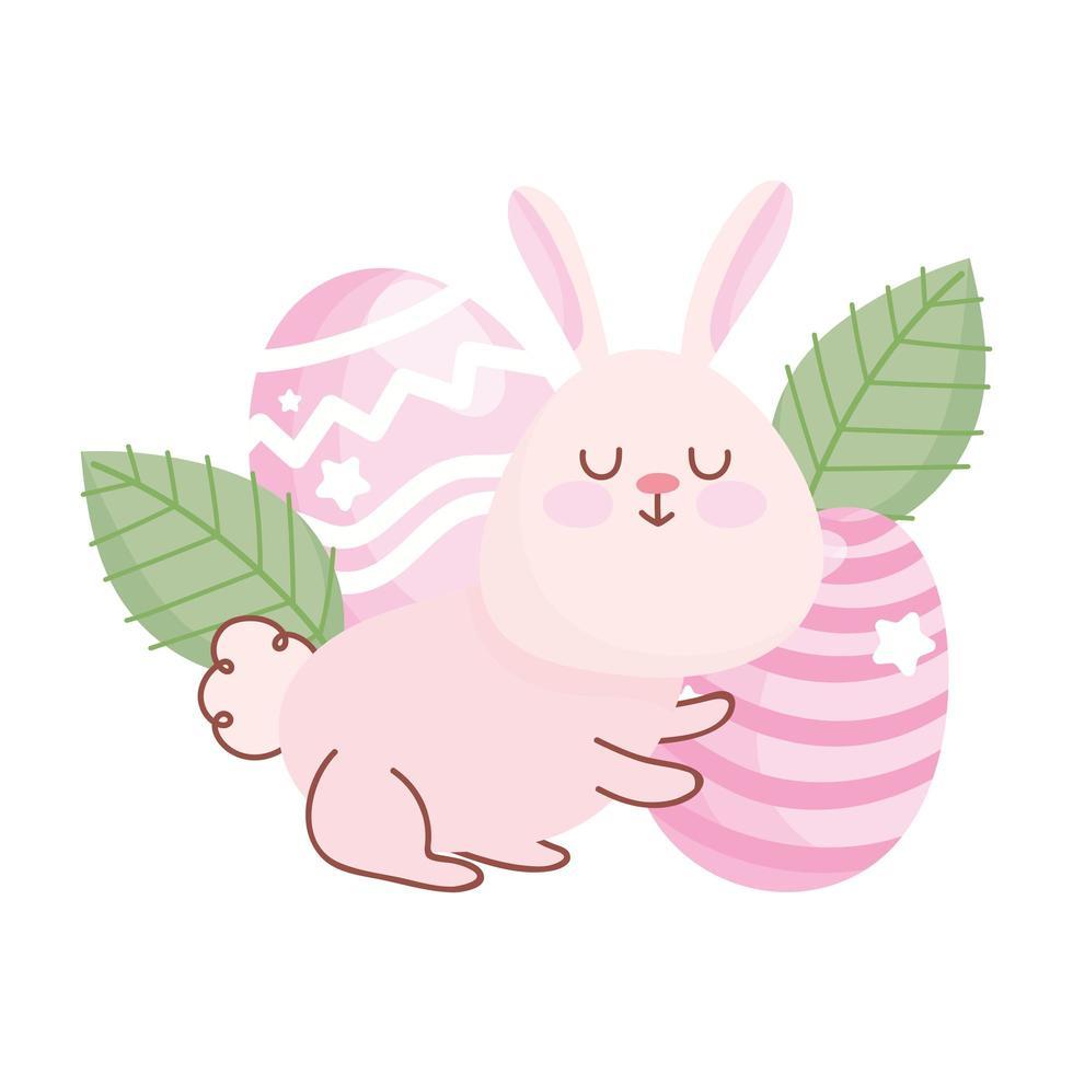 gelukkige Pasen schattige konijn eieren bladeren florale decoratie vector