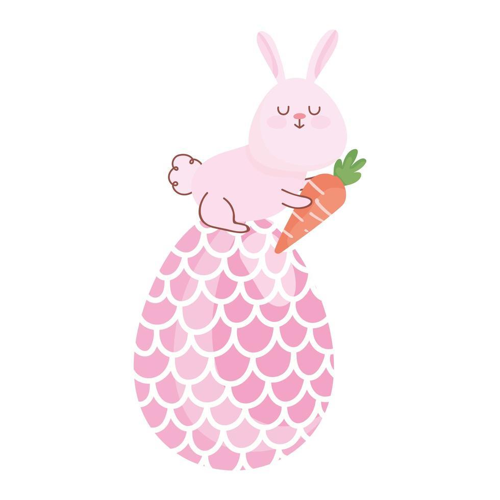 gelukkig Pasen-konijn met wortel in grote eierdecoratie vector