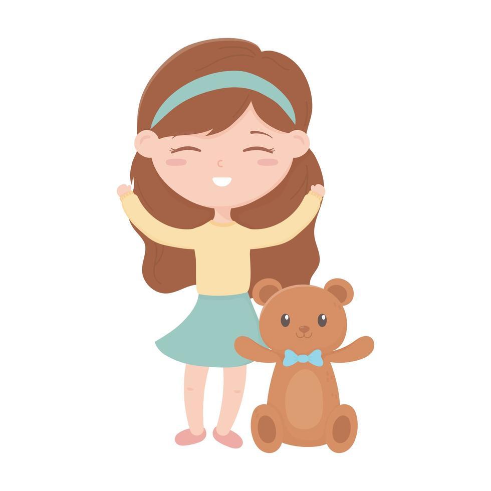 kids zone, schattig klein meisje teddybeer speelgoed vector