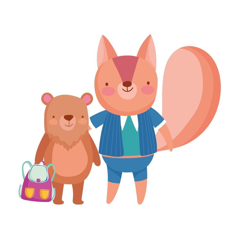 terug naar school, beer met tas en eekhoorn cartoon vector