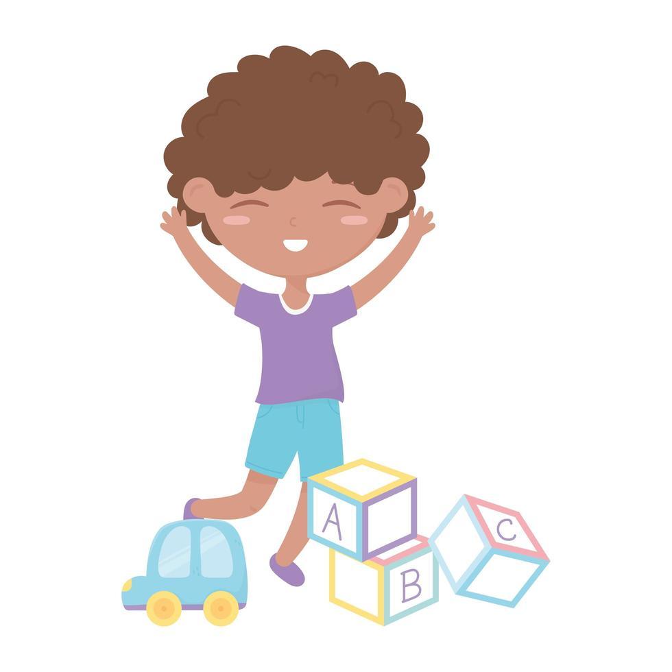 kinderzone, schattige kleine jongensalfabetblokken en autospeelgoed vector