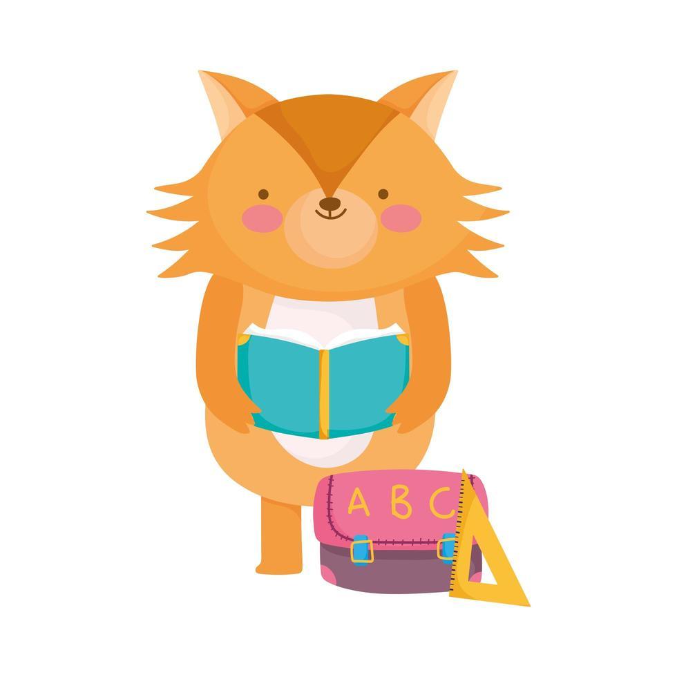 terug naar school, vos leesboek met zak liniaal cartoon vector
