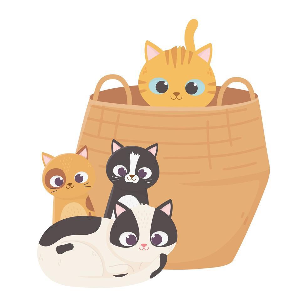 katten maken me blij, kat in mand en kittens zitten cartoon vector