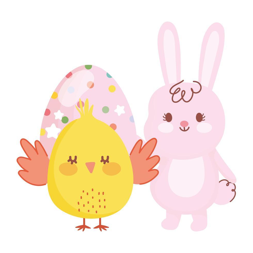 gelukkige Pasen-kip en konijn met gestippelde eierdecoratie vector