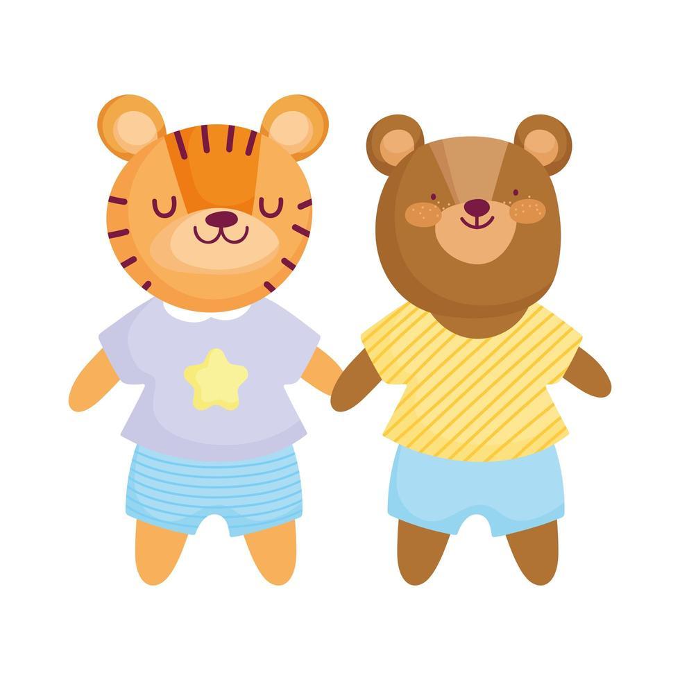 schattige beer en tijger met kleding dieren stripfiguur vector