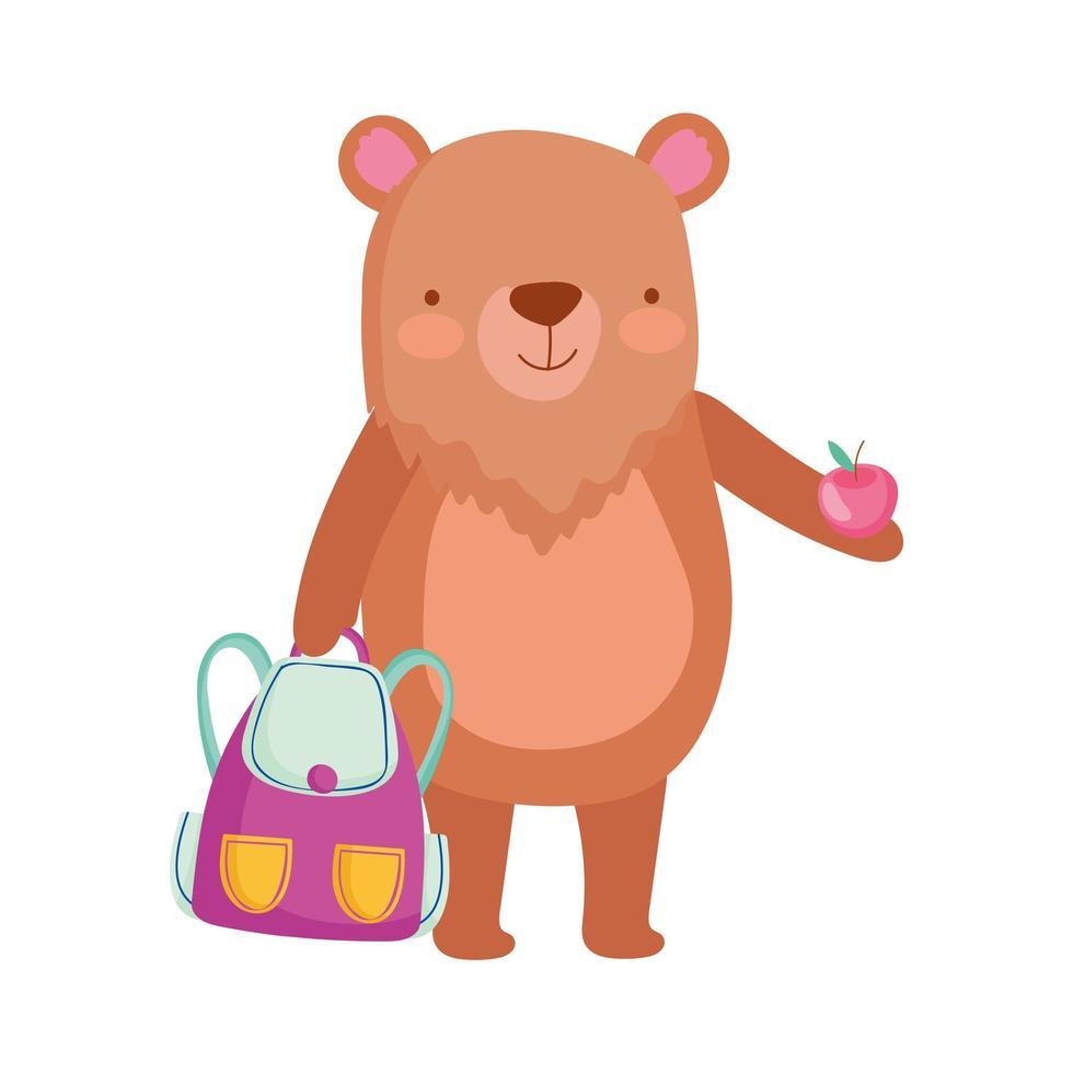 terug naar school, beer met rugzak en appelcartoon vector
