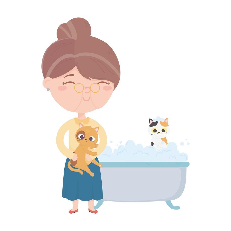 katten maken me blij, oude vrouw kat en kitten in badkuip vector
