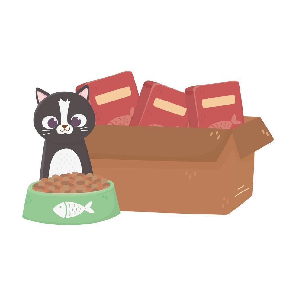 katten maken me blij, kat met voerbak en kartonnen doos vector