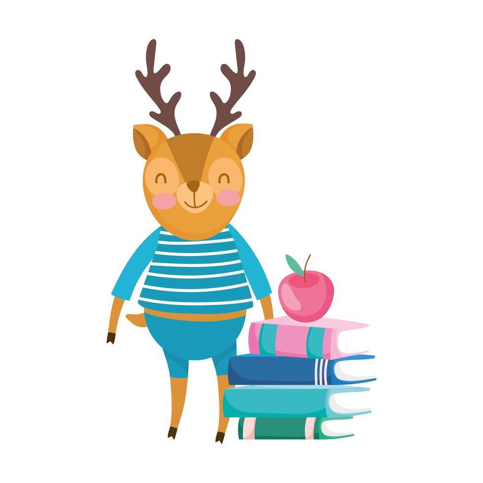 terug naar school, eekhoorn met de cartoon van de boekenappel vector
