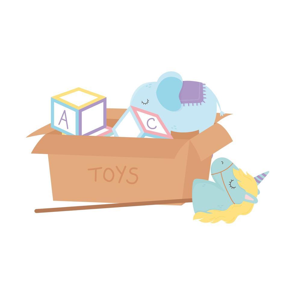 kids zone, doos met alfabet blokken eenhoorn olifant met wielen speelgoed vector