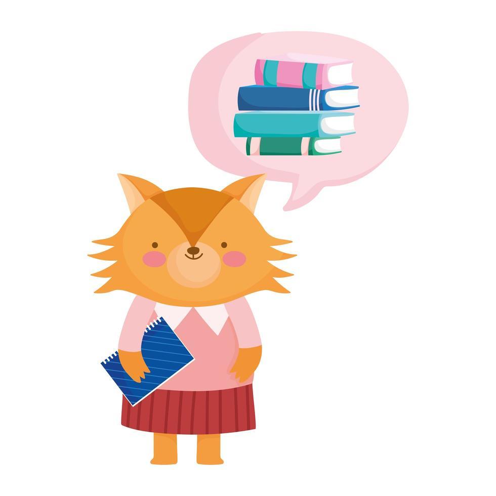 terug naar school, schattige vos met notitieboekje denk boeken cartoon vector