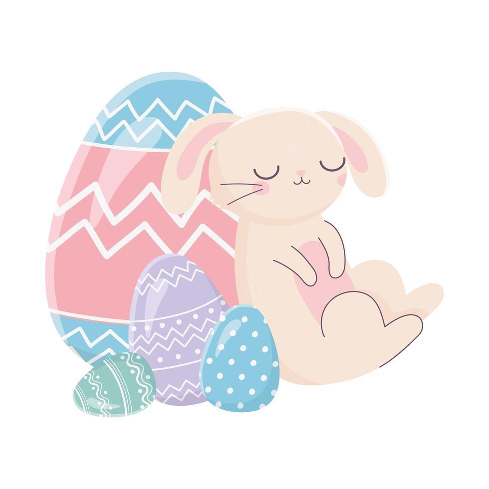 gelukkige paasdag, slaapkonijn met eierendecoratie vector