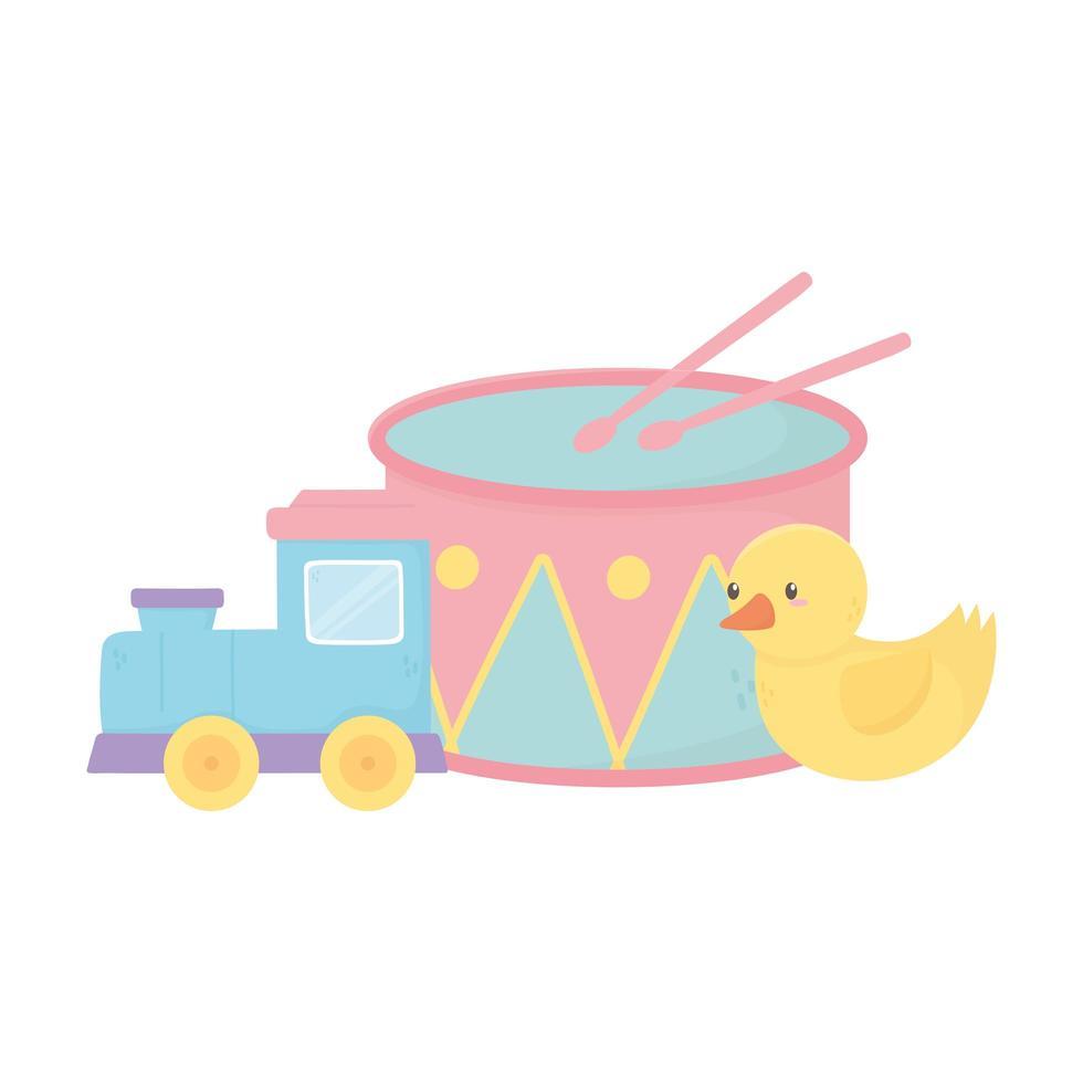 kids zone, trein eend en drum cartoon speelgoed vector