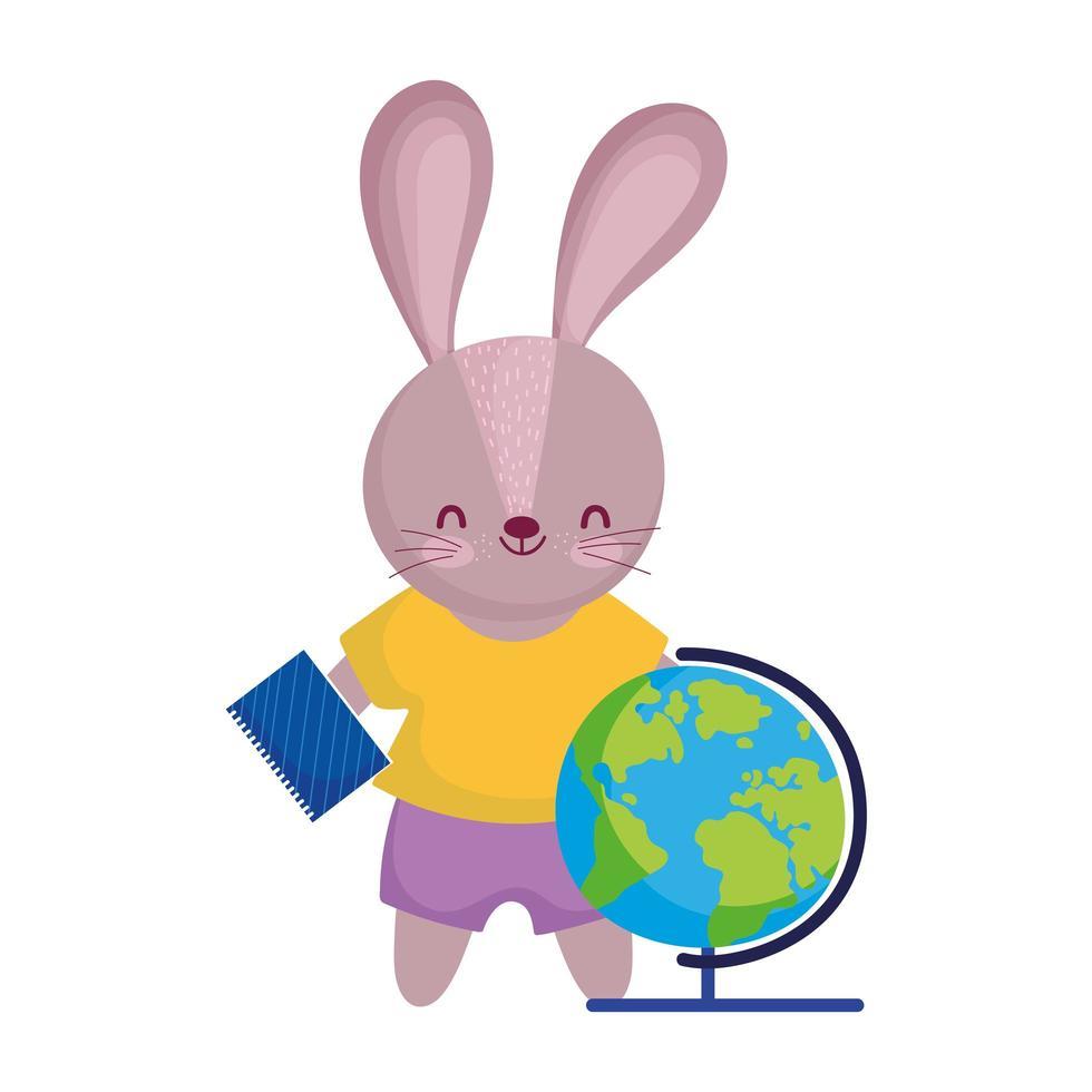 terug naar school, schattig konijn met wereldbolkaart en blocnote vector