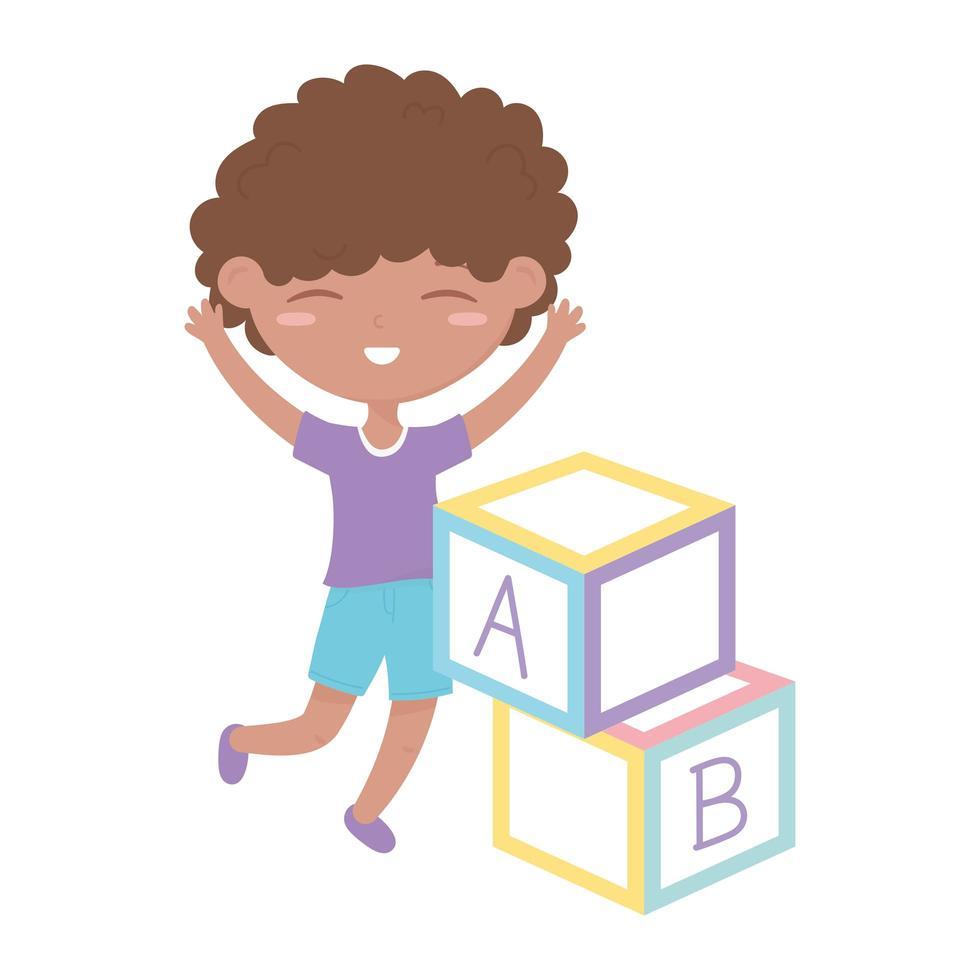 kids zone, schattige kleine jongen alfabet blokken speelgoed vector